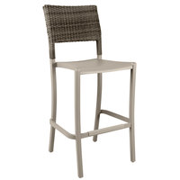 Grosfillex US927181 Java French Taupe Barstool with Wicker Back   - 8/Case