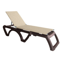 Grosfillex US120037 Jamaica Beach Bronze Calypso Adjustable Chaise Lounge with Straw Sling Seat   - 2/Case