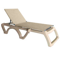 Grosfillex US115066 Jamaica Beach Sandstone Adjustable Chaise Lounge with Straw Sling Seat - 16/Case