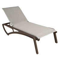 Grosfillex US320599 Sunset Fusion Bronze Chaise Lounge with Beige Sling Seat   - 2/Pack