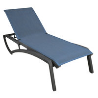 Grosfillex US120288 Sunset Volcanic Black Chaise Lounge with Madras Blue Sling Seat   - 2/Pack