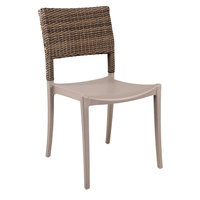 Grosfillex US985181 Java French Taupe Resin Sidechair with Wicker Back - 4/Pack