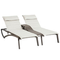 Grosfillex US028599 Sunset Fusion Bronze Duo Chaise Lounge with Beige Comfort Sling Seat