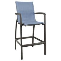 Grosfillex US016288 Sunset Volcanic Black Barstool with Madras Blue Comfort Sling Seat - 4/Case
