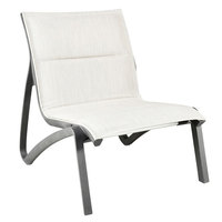 Grosfillex US033288 Sunset Volcanic Black Armless Lounge Chair with Beige Comfort Sling Seat - 4/Case