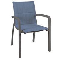 Grosfillex US009288 Sunset Volcanic Black Stacking Armchair with Madras Blue Comfort Sling Seat - 16/Case