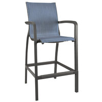 Grosfillex US015288 Sunset Volcanic Black Barstool with Madras Blue Sling Seat - 4/Case