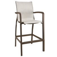 Grosfillex US015599 Sunset Fusion Bronze Barstool with Beige Sling Seat - 4/Case