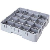 Cambro 16C258151 Camrack 2 5/8 inch Soft Gray Customizable 16 Compartment Full Size Cup Rack
