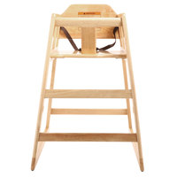 GET HC-100-MOD-N-KD-1 Stackable Hardwood High Chair with Natural Finish - Unassembled