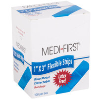Medique 68033 Medi-First 1 inch x 3 inch Blue Woven Adhesive Strip Bandage - 100/Box