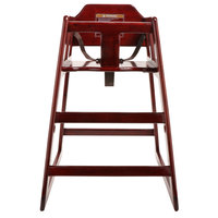GET HC-100-MOD-M-KD-1 Stackable Hardwood High Chair with Mahogany Finish - Unassembled