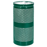 Ex-Cell Kaiser WR-10R HGR Landscape Series 10 Gallon Hunter Green Gloss Perforated Waste Receptacle