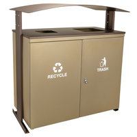 Ex-Cell Kaiser RGU-3645 SAND/BRZX Ellipse Collection Sand 90 Gallon Two-Stream Receptacle with Canopy