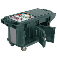 Cambro VBRUT6519 Kentucky Green 6' Versa Ultra Work Table with Storage and Standard Casters