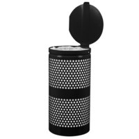 Ex-Cell Kaiser WR-10R CVR BLK Landscape Series 10 Gallon Black Gloss Perforated Waste Receptacle with Lid