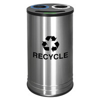 Ex-Cell Kaiser RC-1528-3 SS NY 14 Gallon Stainless Steel NYC Business Smiley 3 Stream Recycling Receptacle