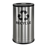 Ex-Cell Kaiser RC-1528-3 SS 14 Gallon Stainless Steel Smiley 3 Stream Recycling Receptacle