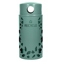 Ex-Cell Kaiser NS33-LV R MAL Nature Series 33 Gallon Steel Malachite Leaves Recycle Receptacle