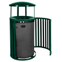 Ex-Cell Kaiser SCTP-40 D HGR Streetscape Hunter Green Gloss 45 Gallon Outdoor Trash Receptacle with Canopy and Door