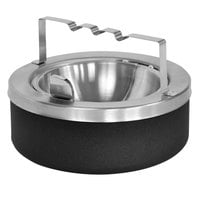 Ex-Cell Kaiser 63-BG BLX Black 8 inch x 6 inch Large Capacity Tabletop Ashtray with Flip Top and Bridge