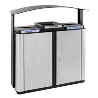 Ex-Cell Kaiser ECHX3-2R SS/BL Echelon Collection Stainless Steel 75 Gallon Outdoor Three-Stream Receptacle with 2 Co-Mingle Openings, 1 Trash Opening, and Canopy