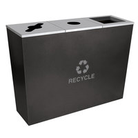 Ex-Cell Kaiser RC-MTR-3 HCCL Metro Collection 54 Gallon Hammered Charcoal Three Stream Tapered Recycling Receptacle