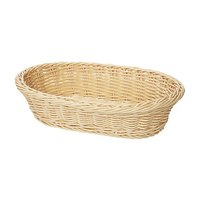 GET WB-1505-N Designer Polyweave 11 3/4 inch x 8 inch x 3 inch Natural Oval Plastic Basket - 12/Case
