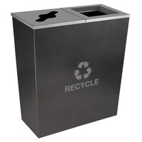 Ex-Cell Kaiser RC-MTR-2 HCCL Metro Collection 36 Gallon Hammered Charcoal Two Stream Tapered Recycling Receptacle