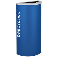 Ex-Cell Kaiser RC-KDHR-R RYX Kaleidoscope Collection Royal Blue Texture 8 Gallon Half-Round Recycling Receptacle