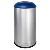 Ex-Cell Kaiser INT1531 D-6 SS INGX International Collection 18 Gallon Stainless Steel Waste Receptacle with Indigo Textured Lid