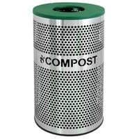 Ex-Cell Kaiser VCC-33 PERF SS Venue Collection 33 Gallon Perforated Stainless Steel Compost Receptacle