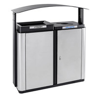 Ex-Cell Kaiser ECHX2-1E SS/BL Echelon Collection Stainless Steel 70 Gallon Outdoor Two-Stream Receptacle with Co-Mingle Opening, Trash Opening, and Canopy
