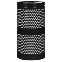 Ex-Cell Kaiser WR-22R BLACK Landscape Series 20 Gallon Black Gloss Perforated Trash Receptacle