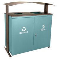 Ex-Cell Kaiser RGU-3645 MAL/BRZX Ellipse Collection Malachite 90 Gallon Two-Stream Receptacle with Canopy