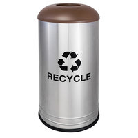 Ex-Cell Kaiser RC-1531 D-6 SS BRX International Collection 18 Gallon Cafe Style Stainless Steel Recycling Receptacle with Brown Texture Lid