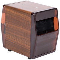 Vollrath 5509-12 Walnut Two Sided Tabletop Lowfold Napkin Dispenser with Brown Faceplate