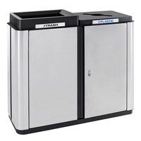 Ex-Cell Kaiser ECH2-1E SS/BL Echelon Collection Stainless Steel 70 Gallon Indoor Two-Stream Receptacle with Co-Mingle and Trash Openings