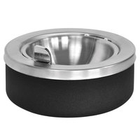 Ex-Cell Kaiser 63 BLX Black 8 inch x 4 inch Large Capacity Tabletop Ashtray with Flip Top