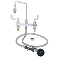 T&S B-2346 Deck Mounted Workboard Faucet with Sidespray, Vacuum Breaker Gooseneck, 8 inch Centers, and 4 inch Wrist Action Handles ADA Compliant
