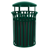 Ex-Cell Kaiser SCD-2633 HGR Streetscape Hunter Green Gloss 37 Gallon Classic Outdoor Trash Receptacle with Canopy