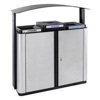 Ex-Cell Kaiser ECHX3-2TR SS/BL Echelon Collection Stainless Steel 75 Gallon Outdoor Three-Stream Receptacle with 2 Trash Openings, 1 Co-Mingle Opening, and Canopy