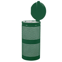 Ex-Cell Kaiser WR-10R- CVR HGR Landscape Series 10 Gallon Hunter Green Gloss Perforated Waste Receptacle with Lid
