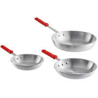 Choice 3-Piece Aluminum Fry Pan Set with Red Silicone Handles - 8 inch, 10 inch, and 12 inch Frying Pans