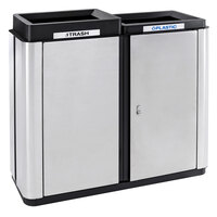 Ex-Cell Kaiser ECH2-2TR SS/BL Echelon Collection Stainless Steel 70 Gallon Indoor Two-Stream Receptacle with 2 Trash Openings