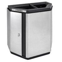 Ex-Cell Kaiser ECH-HHX 2TR SS/BL Echelon Collection Stainless Steel 32 Gallon Half-Hex Indoor Receptacle with 2 Trash Openings