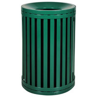 Ex-Cell Kaiser SCTP-40 ND HGR Streetscape Hunter Green Gloss 45 Gallon Outdoor Trash Receptacle with Funnel Top