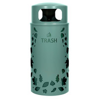 Ex-Cell Kaiser NS33-LV T MAL Nature Series 33 Gallon Steel Malachite Leaves Trash Receptacle