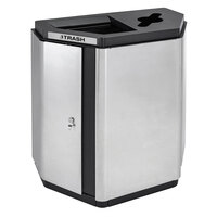 Ex-Cell Kaiser ECH-HHX COMBO SS/BL Echelon Collection Stainless Steel 32 Gallon Half-Hex Indoor Receptacle with Co-Mingle and Trash Openings
