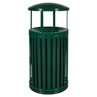 Ex-Cell Kaiser SCTP-40 D ND HGR Streetscape Hunter Green Gloss 45 Gallon Outdoor Trash Receptacle with Canopy